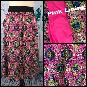 LuLaRoe Lola Pink, Blue, & Green Skirt